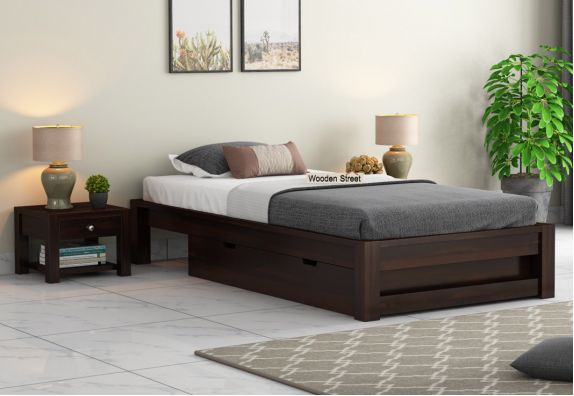 Hout Single Bed With Storage (Walnut Finish)