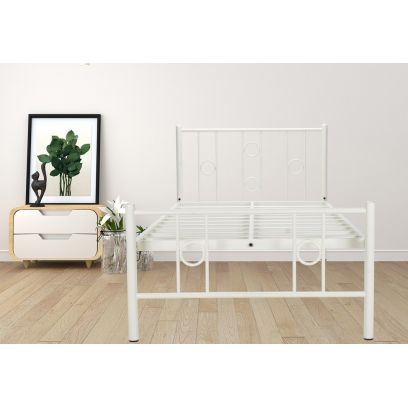 Roadster White Powder-Coated Single Metal Bed