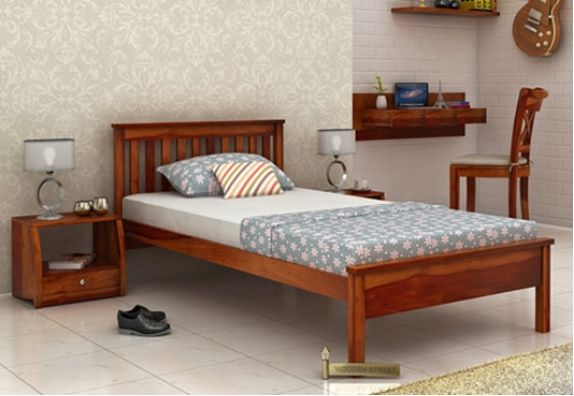 Simple single bed design online, wooden cots online in India