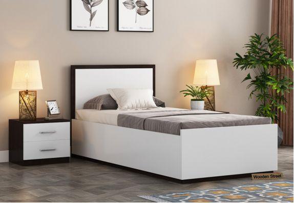 Bartha Single Bed With Box Storage (Flowery Wenge-Frosty White Finish)
