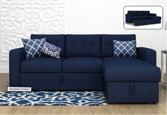 L Shaped Sofa Bed with Storage Order Online at WoodenStreet