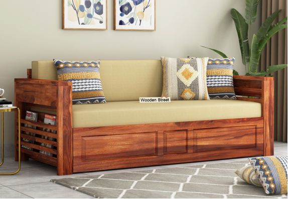 sheesham wooden modern sofa design cum bed in bangalore, chennai, mumbai