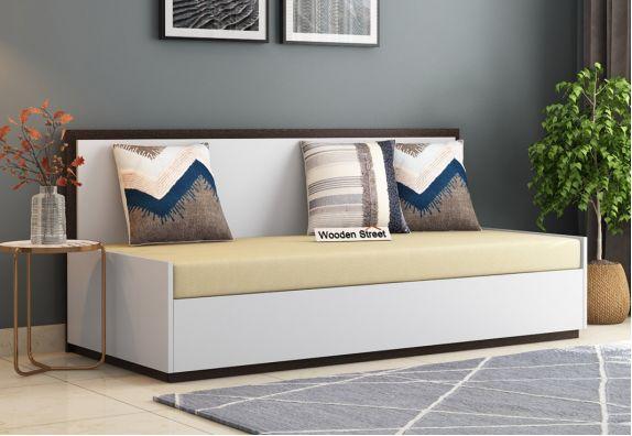 Bartha Sofa Cum Bed With Box Storage (Flowery Wenge-Frosty White Finish)