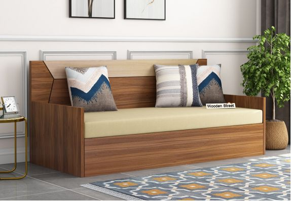 Carmen Sofa Cum Bed With Box Storage (Exotic Teak Finish)