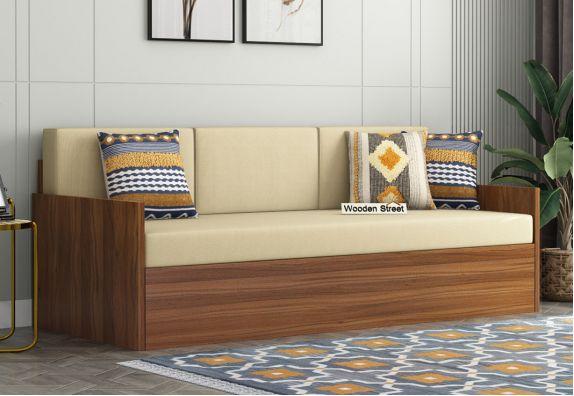 Mendez Sofa Cum Bed With Box Storage (Exotic Teak Finish)