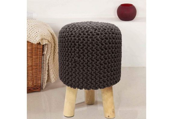 Brown Cotton Hand Knitted Stool