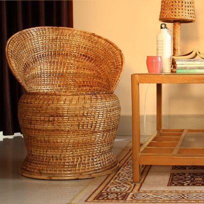 Handmade Premium Natural Cane Stool with Backrest