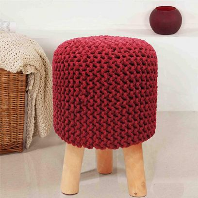 Red Cotton Hand Knitted Stool