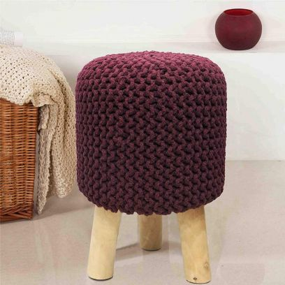 Wine Cotton Hand Knitted Stool