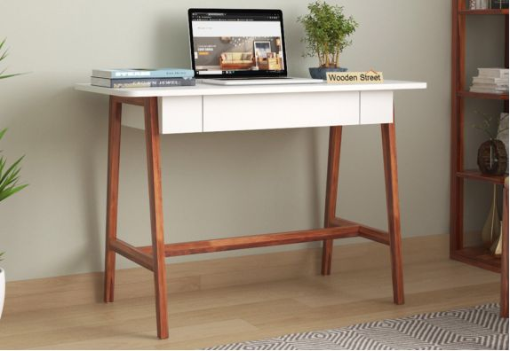 Ambra Study Table with Frosty White Drawer (Honey Finish)