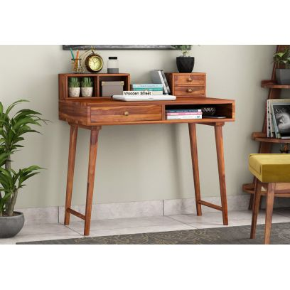 Lynton Study Table with Table-Top Storage (Honey Finish)