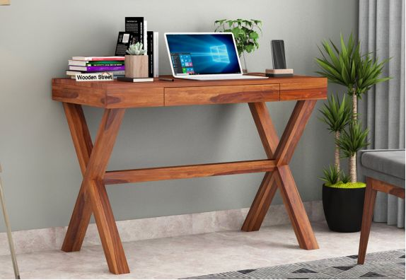 wooden office table:Poppy Solid Office Desk online