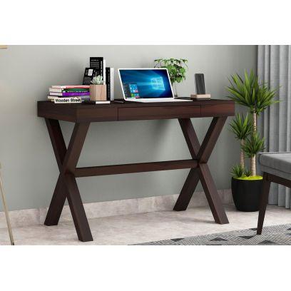 Poppy Solid Computer Desk (Walnut Finish)