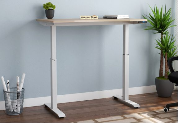 Remo Electric Lift Study Table (Ice Beech Finish)
