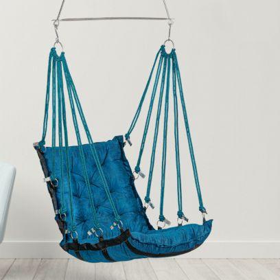 Blue Soft Leather Velvet Hanging Swing Chair