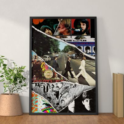 Wooden The Beatles A5 Poster with Frame