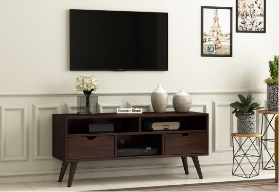 Wood Entertainment Media Console for Small Space