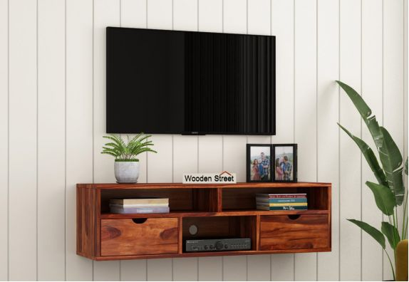Solid Wood Wall TV Stand for Small Living Room
