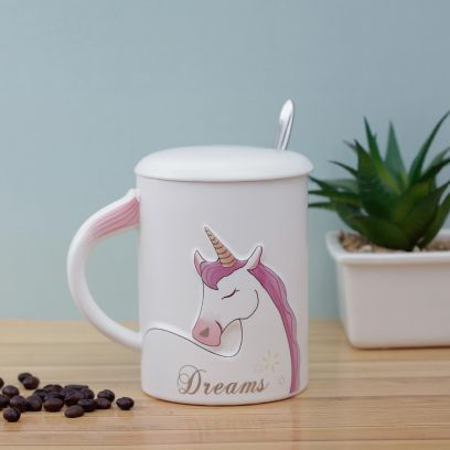 Dreams Unicorn Mug with Lid and Spoon