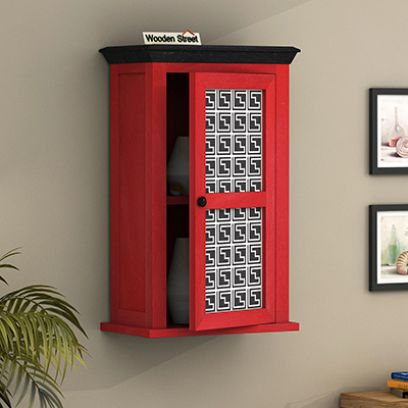 Calgary Red Painted Maze Print Kitchen Rack