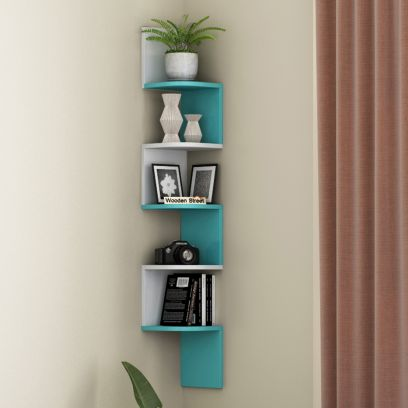 Alta Wall Shelf (White and Teal Blue)
