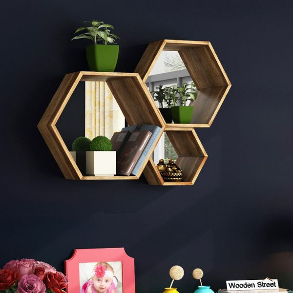 Bee Hive  Wall Shelve With Mirror