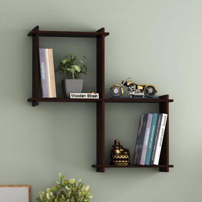 Solid wood wall shelf design in Chennai