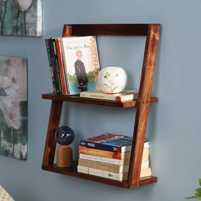 Brown Wooden Floating Wall Shelf Cum Display Unit