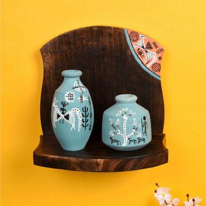 Multicolour Wooden Shelf With Two Madhubani Design Pots