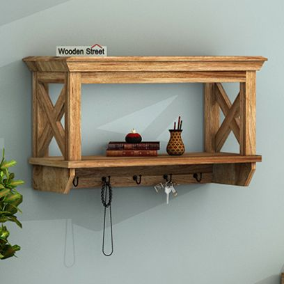 Nature Barn Key Holder with Wall Shelf (Natural Finish)