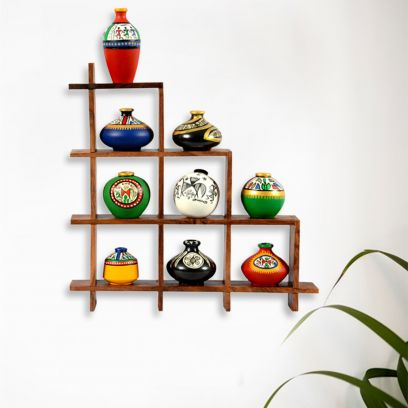 Terracotta Warli Handpainted Pots With Wooden Frame Wall Hanging