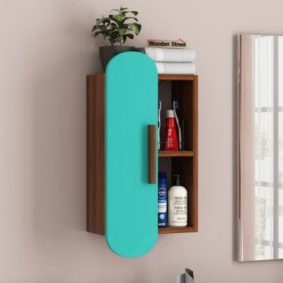 Archies Wall Shelf with Storage (Exotic Teak Finish, Teal Blue)