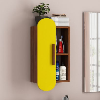 Archies Wall Shelf with Storage (Exotic Teak Finish, Marigold Yellow)