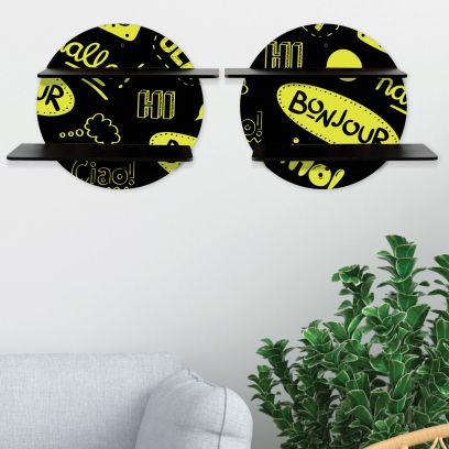 Black Printed Floral Collection Circular Wall Shelf With Black Plates