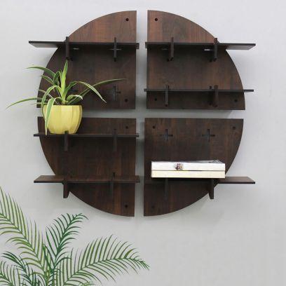 Brown Colour Round Shaped Modular Wall Shelf - Set of 4