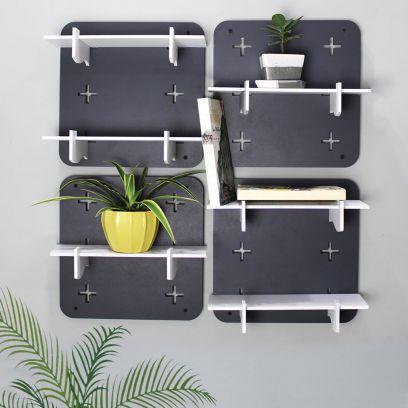 Grey Colour Square Shape Modular Wall Shelf - Set of 4