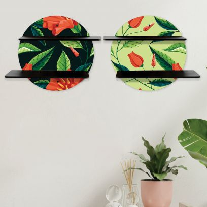 Printed Black and Green Floral Collection Circular Wall Shelf With Black Plates