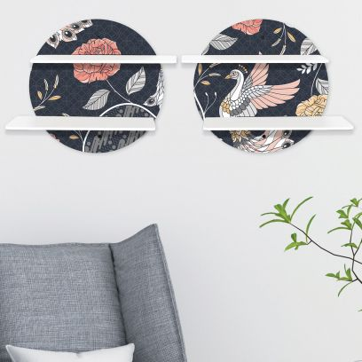 Printed Floral Circular Wall Shelf With White Plates