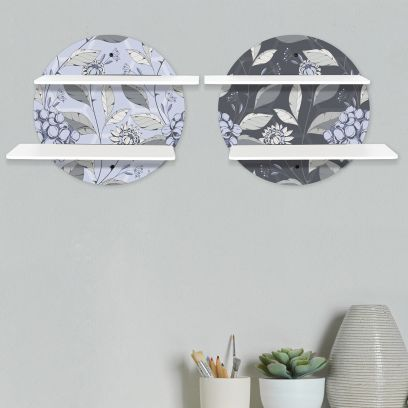 Printed Grey and Blue Circular Wall Shelf With White Plates
