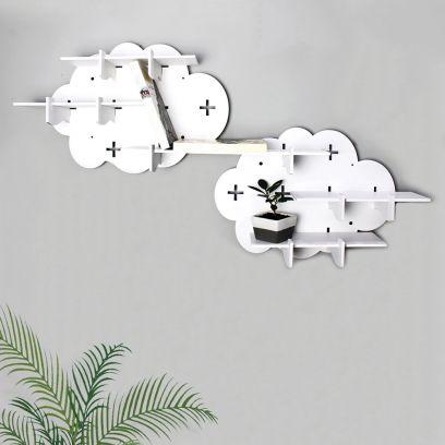 White Colour Assymetric Modular Wall Shelf - Set of 2