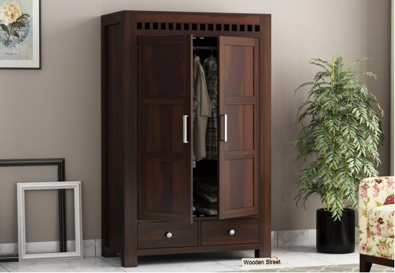 Adolph Multi Utility Wardrobe (Medium Size, Walnut Finish)