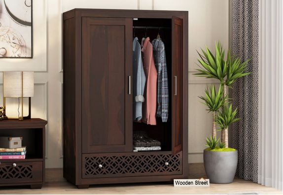 Cambrey Multi Utility Wardrobe (Medium Size, Walnut Finish)