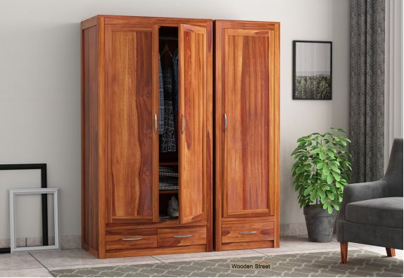 3 door wooden wardrobe online in Bangalore, Mumbai, Pune, sheesham wood almirah online