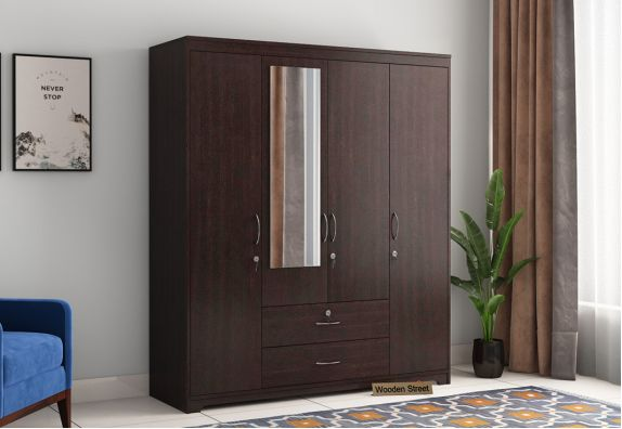 Alcott 4 Door Wardrobe with Mirror (Flowery Wenge Finish)