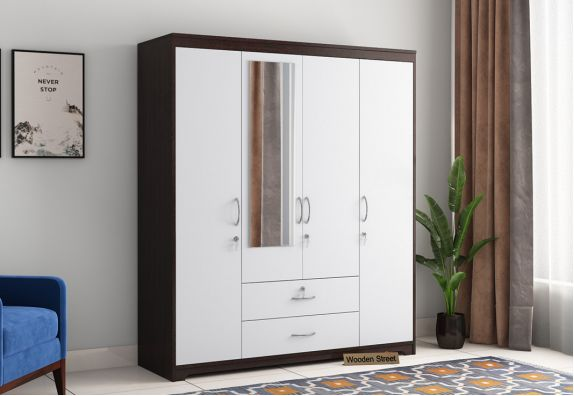 Alcott 4 Door Wardrobe with Mirror (Flowery Wenge-Frosty White Finish)