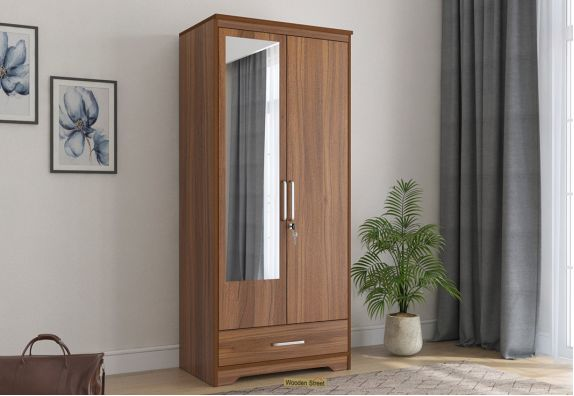 Aspen 2 Door Wardrobe with Mirror and Single Drawer (Exotic Teak Finish)