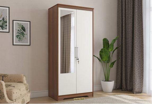 Denver 2 Door Wardrobe with Frosty White Door and Mirror (Exotic Teak Finish)
