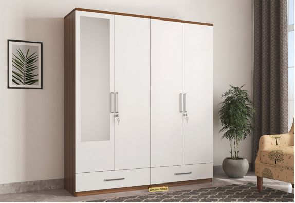 Valor 4 Door Wardrobe with Mirror and Frosty White Drawer (Exotic Teak Finish)