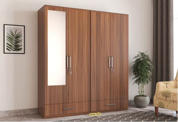 4 Door wooden Wardrobe online low price with Mirror