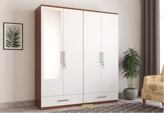 Modular 4 Door Wardrobe with Mirror (Exotic Teak Finish)